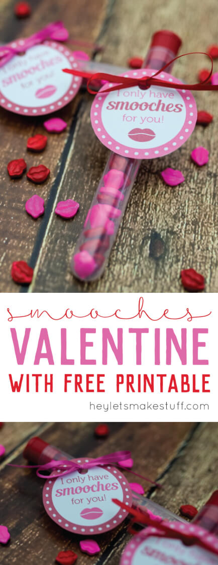 kiss Valentines DIY craft with I Only Have Smooches for You printable