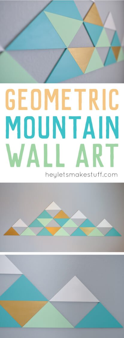 DIY geometric mountains on wall pin image