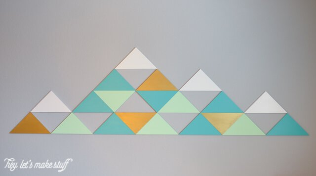 DIY geometric mountains on wall