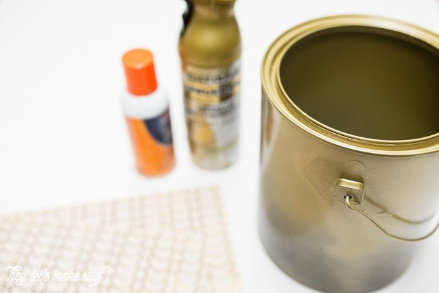 supplies to make DIY ice bucket from upcycled paint can