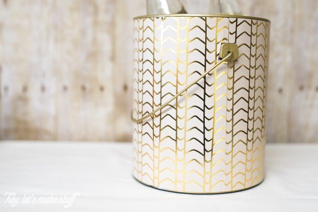 closeup view of DIY ice bucket from upcycled paint can