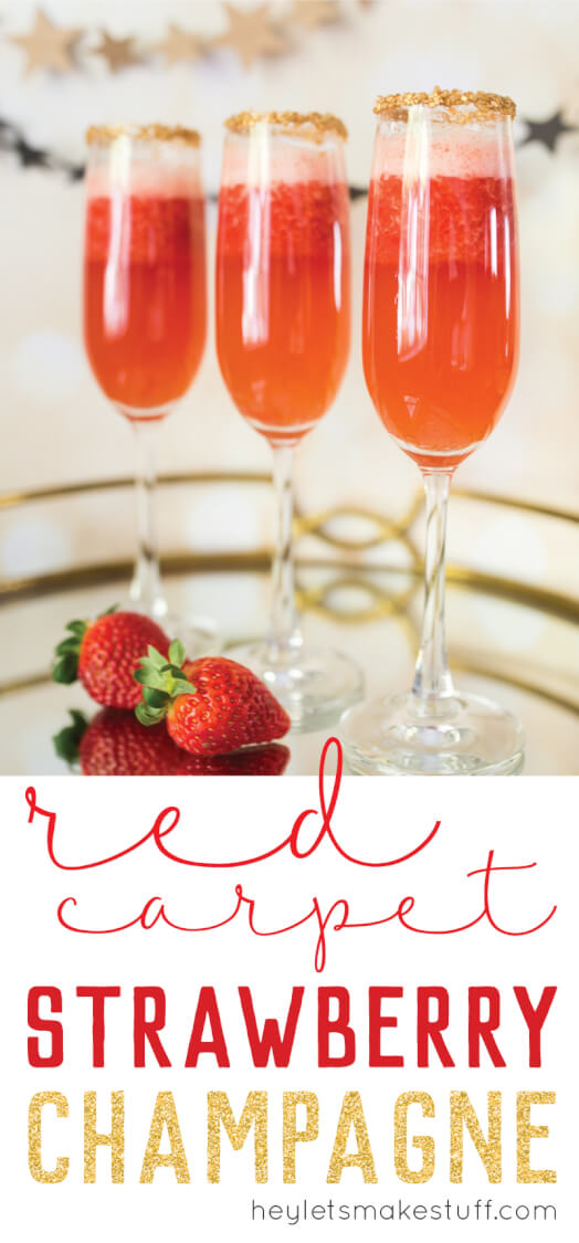 red strawberry champagne flutes on serving platter pin image