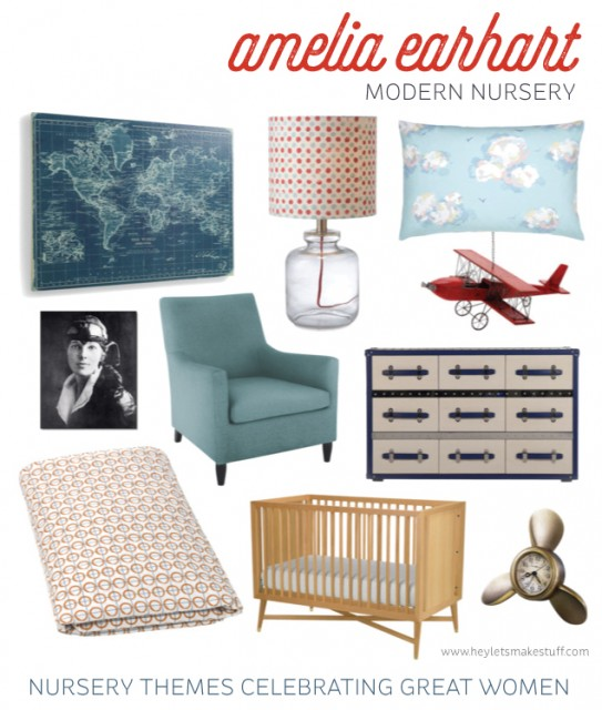 A Modern Amelia Earhart Inspired Nursery -- for moms who don't want princess overload for their little girls. Theme your nursery around great women role models instead!