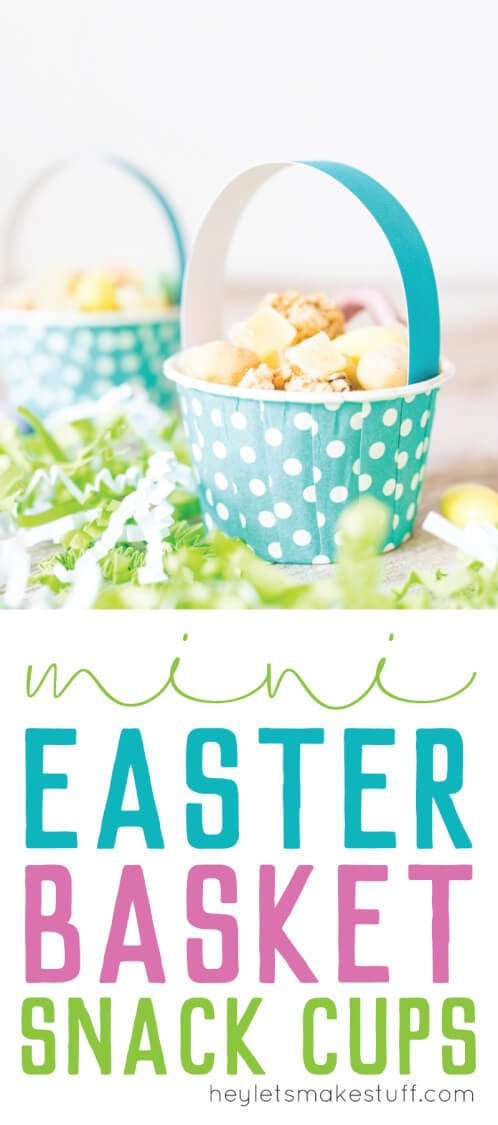 Mini Easter basket snack cups pin image