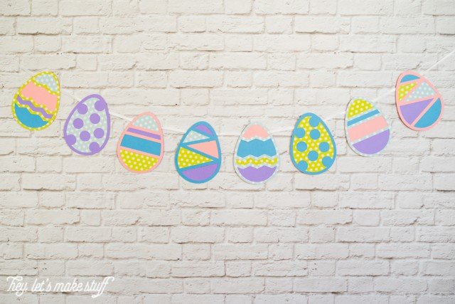 Easter egg cut files hun on a banner