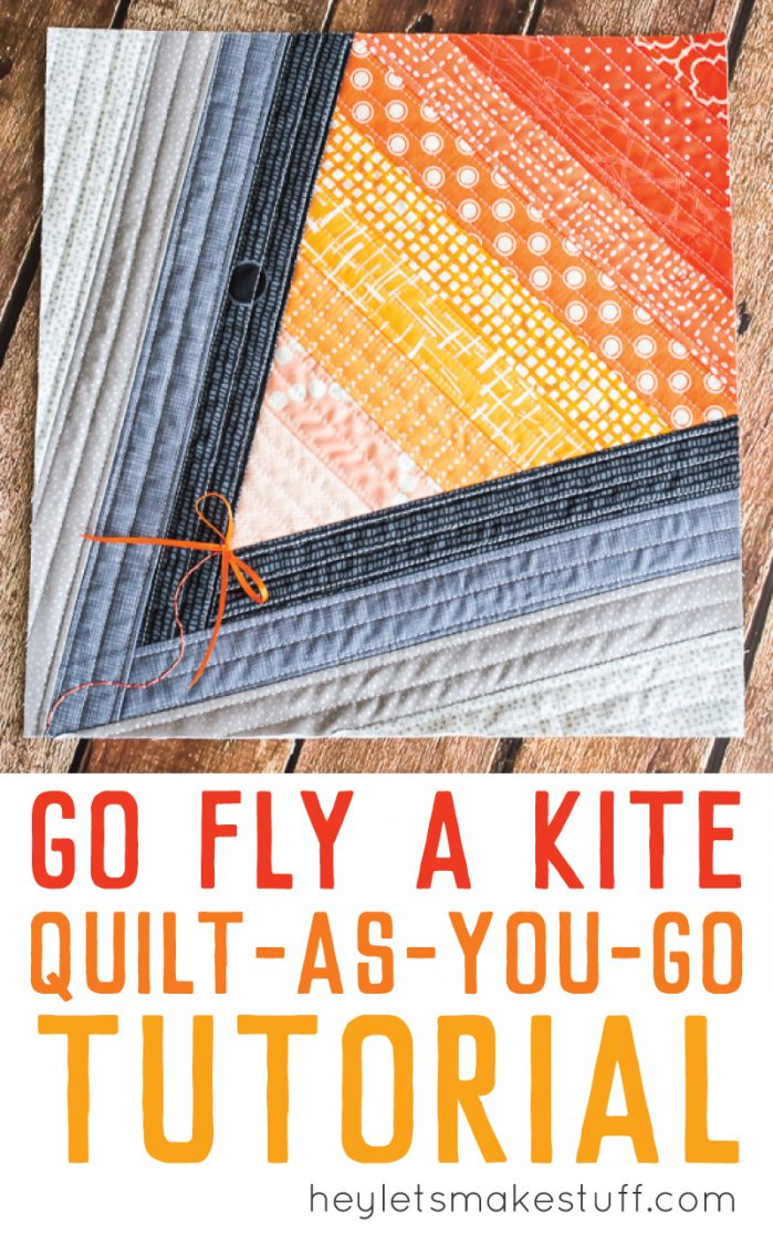 corner piece of finished Go Fly a Kite QAYG finished quilt block pin image