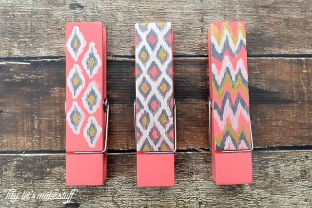 Try your hand at painted ikat -- it's actually really easy! Perfect for dressing up all sorts of things, like these giant clothespins.
