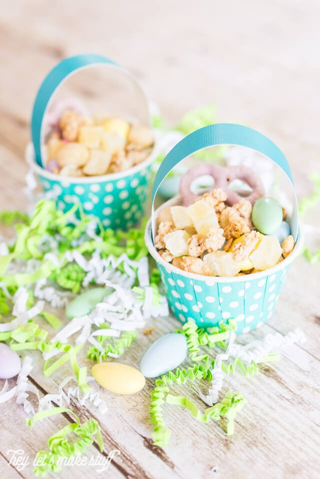 closeup view of mini Easter basket snack cups