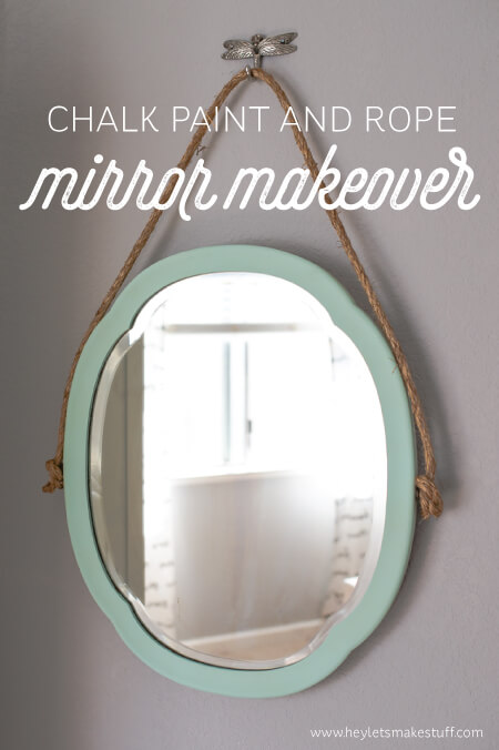 An Old Mirror Gets New Life With Chalk Paint Rope And A Decorative Hook
