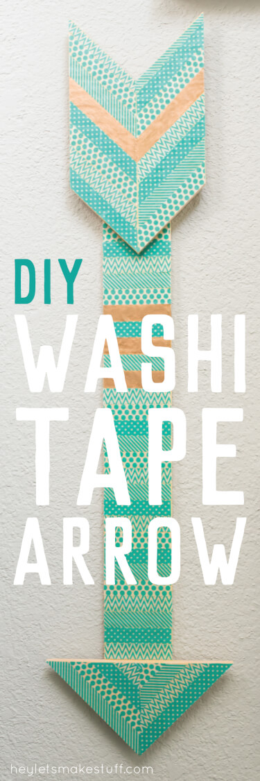 Take a plain wood arrow and dress it up with washi tape! An easy project that can be customized for any decor.