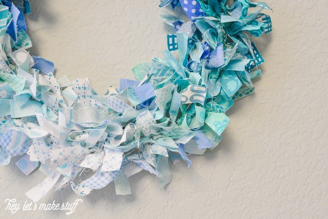 bottom side view of DIY ombre rag wreath