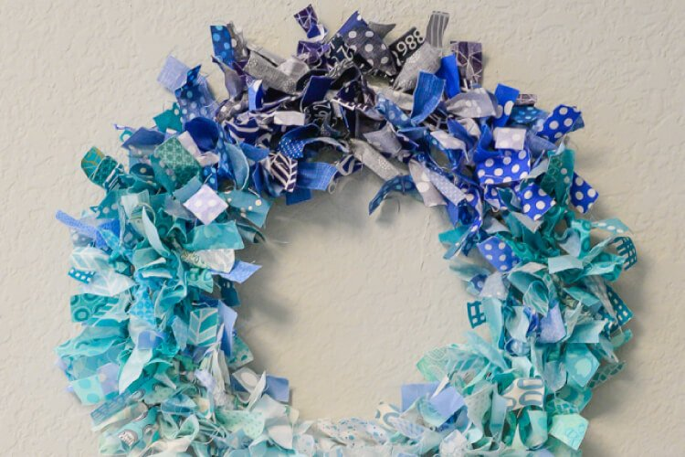 A ombre rag wreath is a great stashbuster for all of those fabric scraps you have!