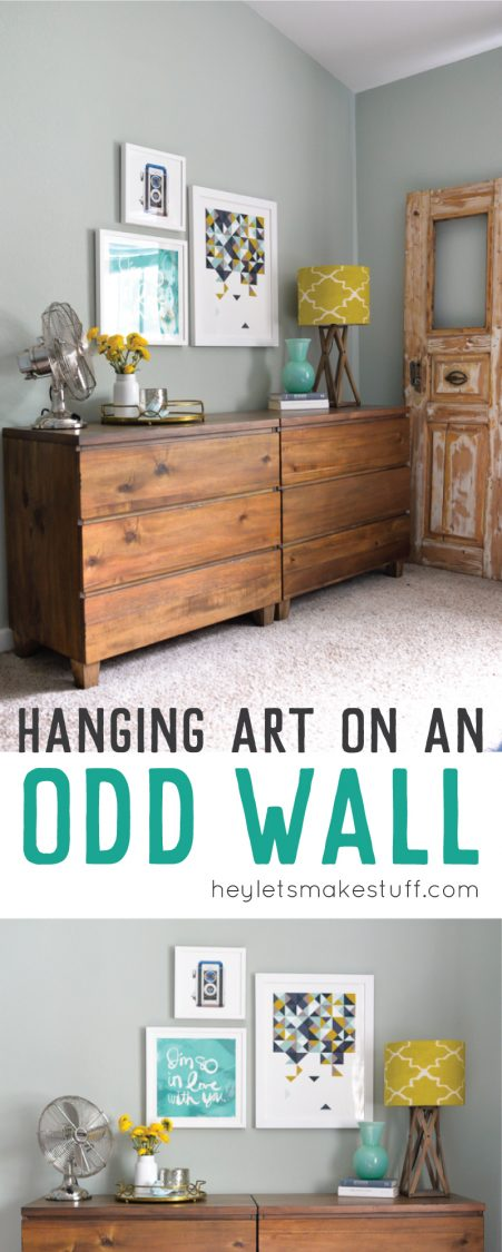 Learn tips and tricks to hang artwork to disguise an oddly shaped wall and make a statement anywhere in your home!