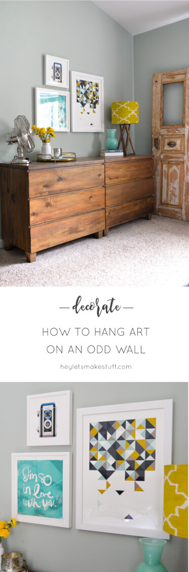 Learn how to hang artwork to disguise an oddly shaped wall and make a statement anywhere in your home!