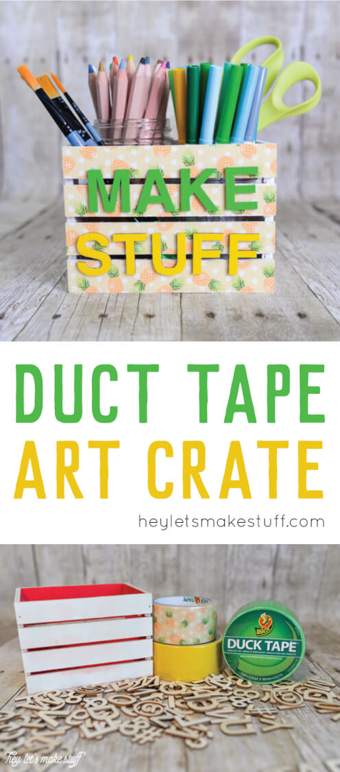 This easy DIY art crate is a fun project using Duct Tape! Put it together quickly and make it say whatever you want. #ad
