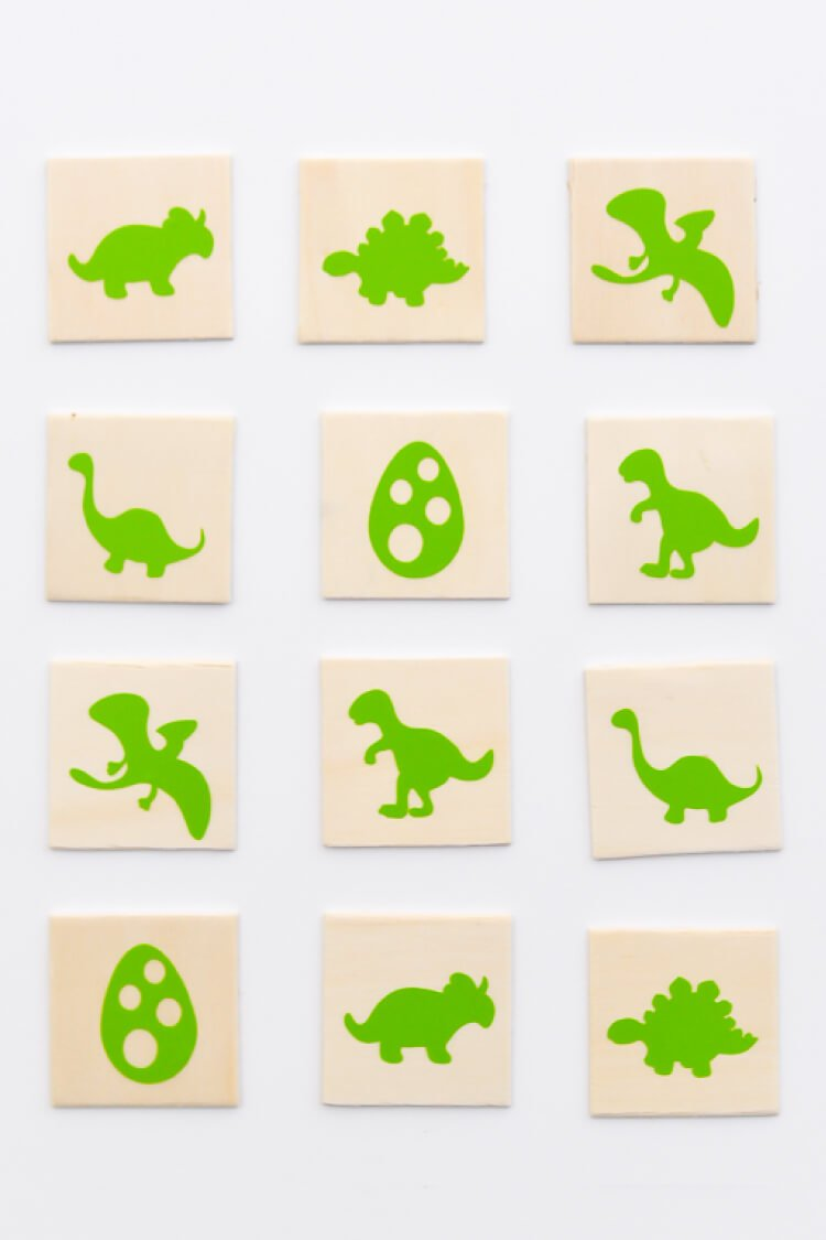 Match-a-Saurus! Make this fun and easy kid's dinosaur matching game using your Cricut Explore One #CricutSummer [ad]