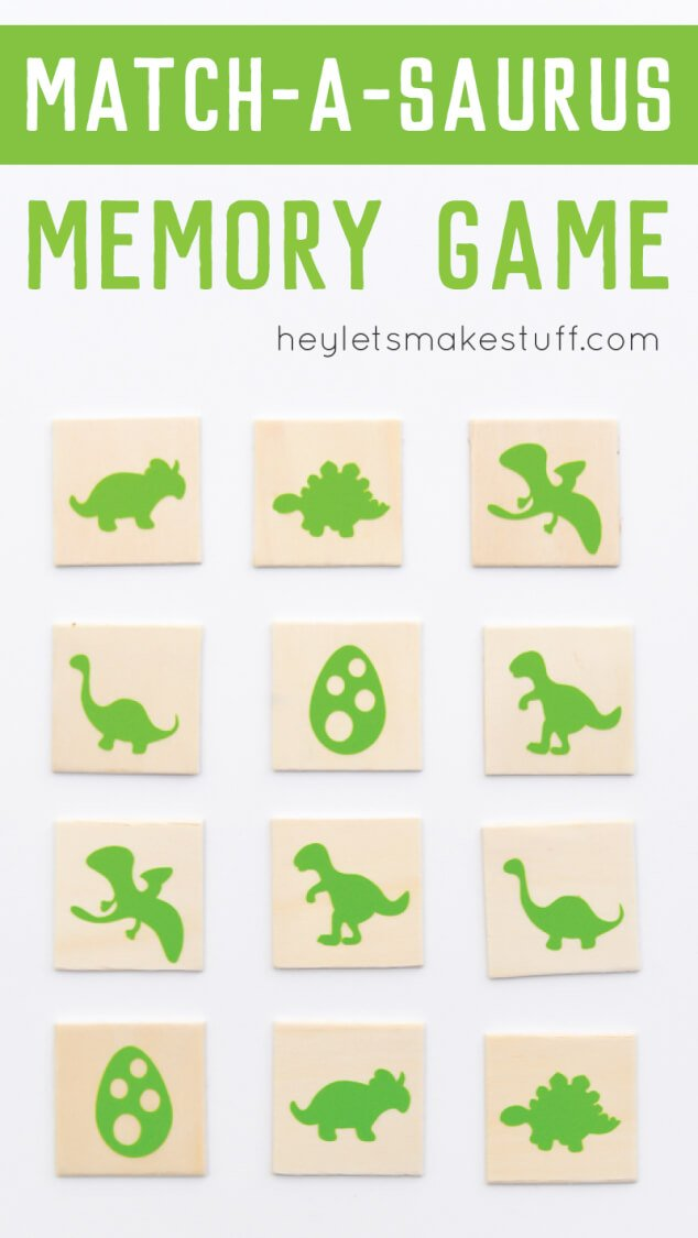 "Make this fun and easy kid's ""match-a-saurus"" dinosaur matching game using your Cricut Explore. Includes free cut files! #CricutSummer"