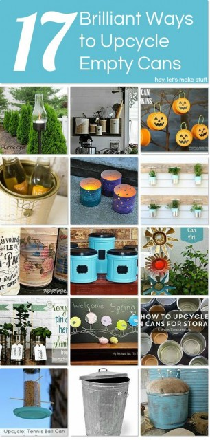 Here are seventeen great ways to upcycle all sorts of cans! Paint cans, aluminum cans, tin cans, tuna cans, even tennis ball cans. Lots of great ideas!