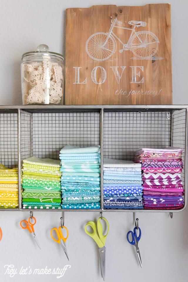 closeup of colorful fabric quarters organized