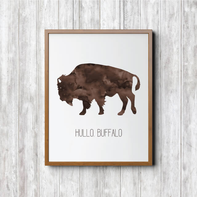 Hullo Buffalo art print free printable