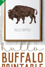 This Hullo Buffalo art print is a fun addition to a wild west nursery or laid back living room. Free printable in a variety of sizes.
