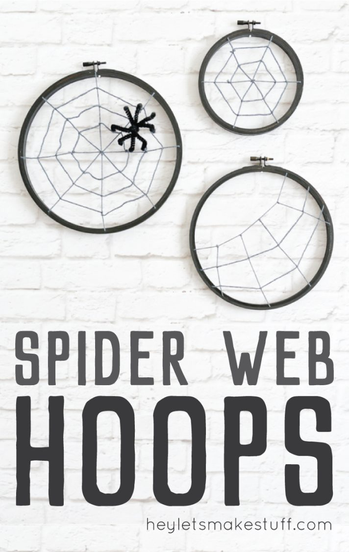 finished spooky spider web hoops made from craft supplies pin image