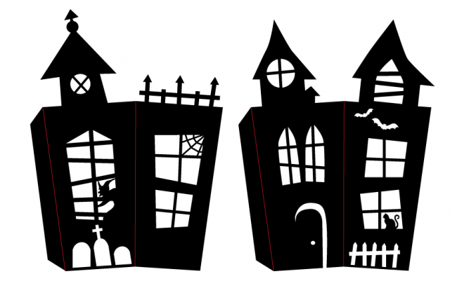 paper Halloween haunted house candy box SVG files