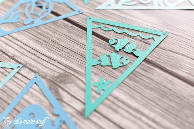 Under the Sea pennants from cutting machine