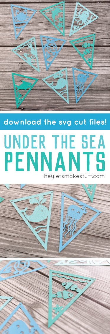 These Under The Sea pennants are perfect for baby shower decor or nursery decor. Get the SVG cut files and use your Cricut or other cutting machine to make them!