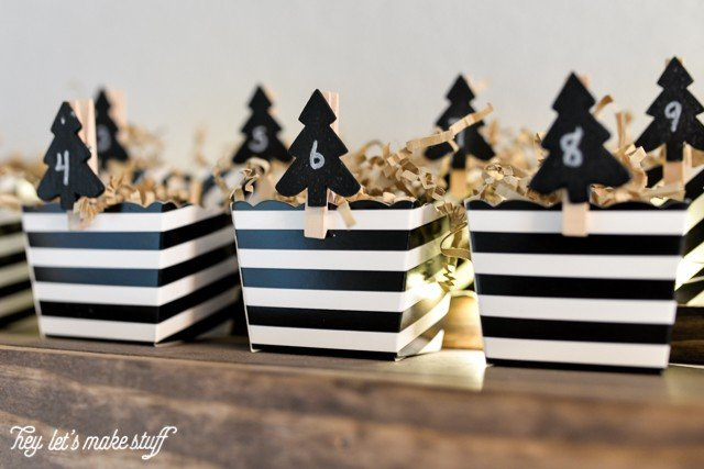 black and white DIY advent calendar in boxes