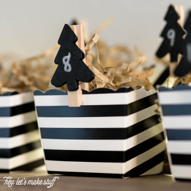 close up of black and white DIY advent calendar in boxes