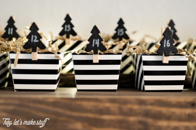 black and white striped boxes for DIY candy advent calendar