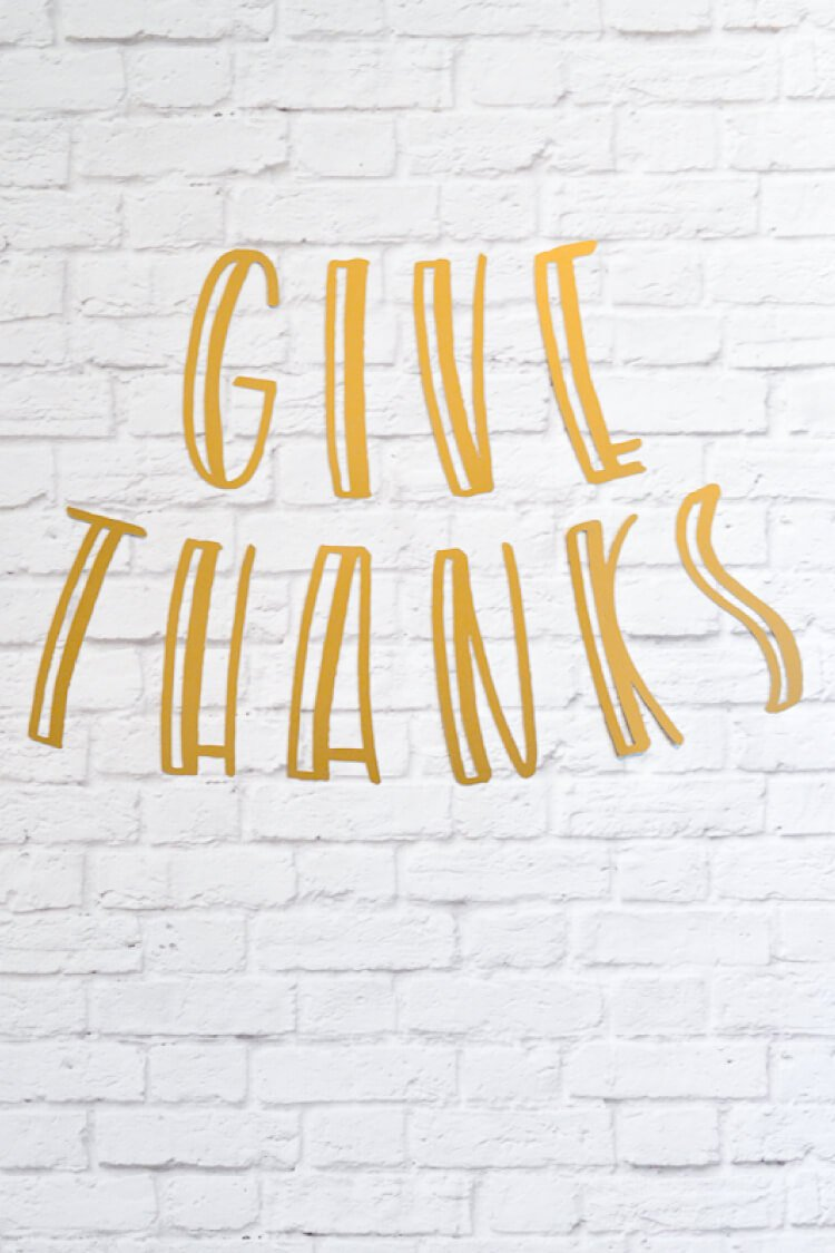 Using your Cricut or Silhouette, cut out these fun GIVE THANKS letters and dress up your mantel, walls, or table for Thanksgiving!
