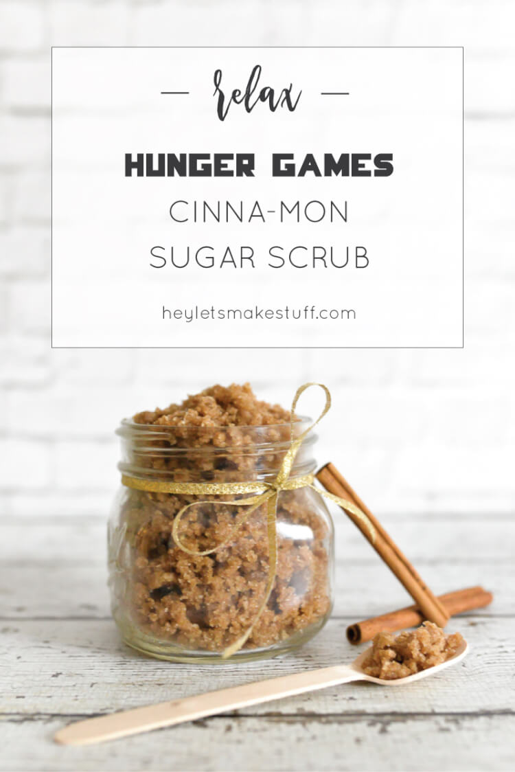 This Cinnamon Sugar Scrub is a nod to my favorite Hunger Games character, Cinna! Gold ribbon = gold eyeliner, right? Also, if need be, you could eat it if you ever get called into the Arena!