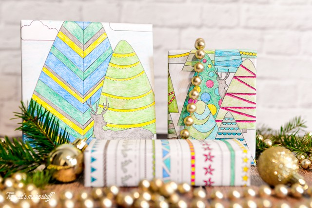 presents wrapped in printable coloring wrapping paper