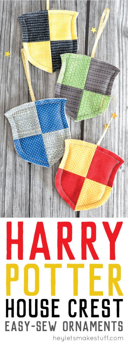 For your Harry Potter Christmas Tree! Make these simple raw-edge Hogwarts house crest ornaments for Gryffindor, Hufflepuff, Ravenclaw, and Slytherin. Perfect for every Harry Potter fan and an easy project for the beginning sewist.