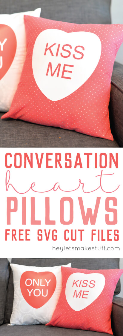 Cricut Iron-On Vinyl is one of my favorite things! Here are step by step instructions on how to use it to make these adorable conversation heart pillow cases for Valentine's Day! Includes free cut files, too!