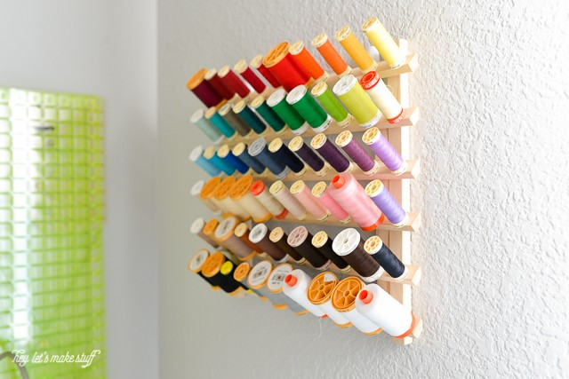 various colors of thread organized