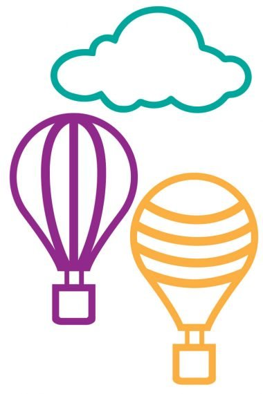 Get these free hot air balloon cut files, which can be cut on a Cricut or Silhouette! Perfect for parties, nurseries, and other decor!