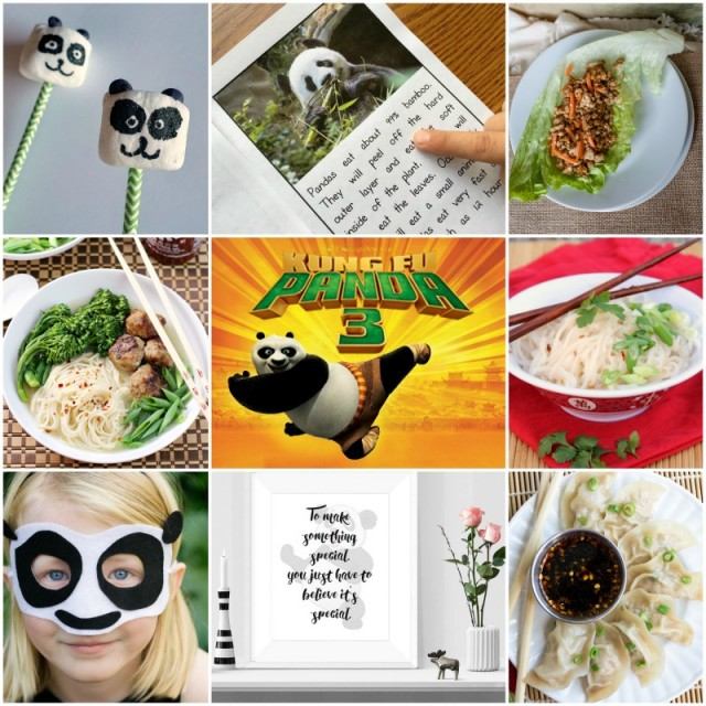 collage of Kung Fu panda mask party ideas