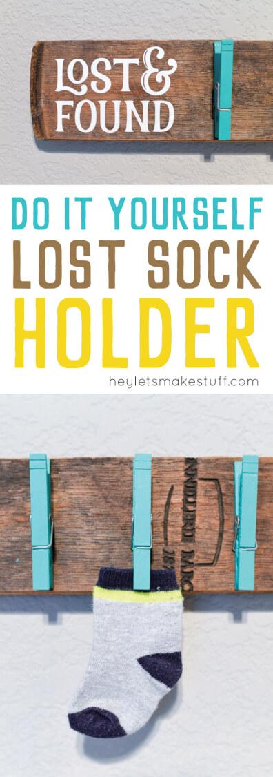 DIY lost sock holder finished pin image