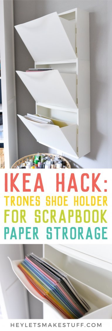 Scrapbook paper organized in IKEA Hack: Trones Shoe Holders pin image