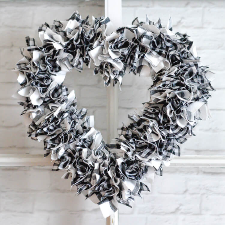 finished scrappy fabric heart wreath