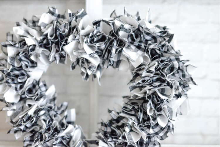 scrappy fabric heart wreath