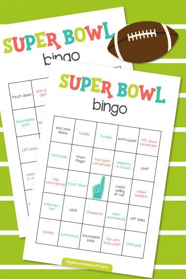 Mockup of super bowl bingo on green and white striped background
