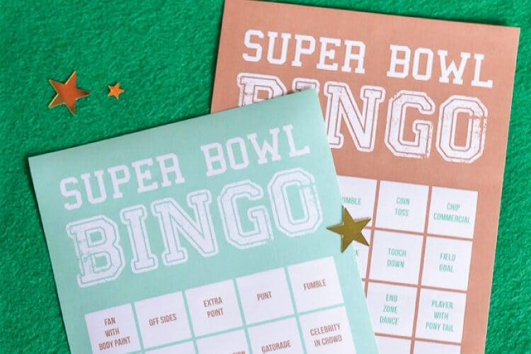 Super Bowl Bingo printable cards on fake grass background