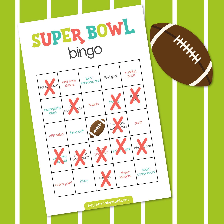Super Bowl Bingo with Xs