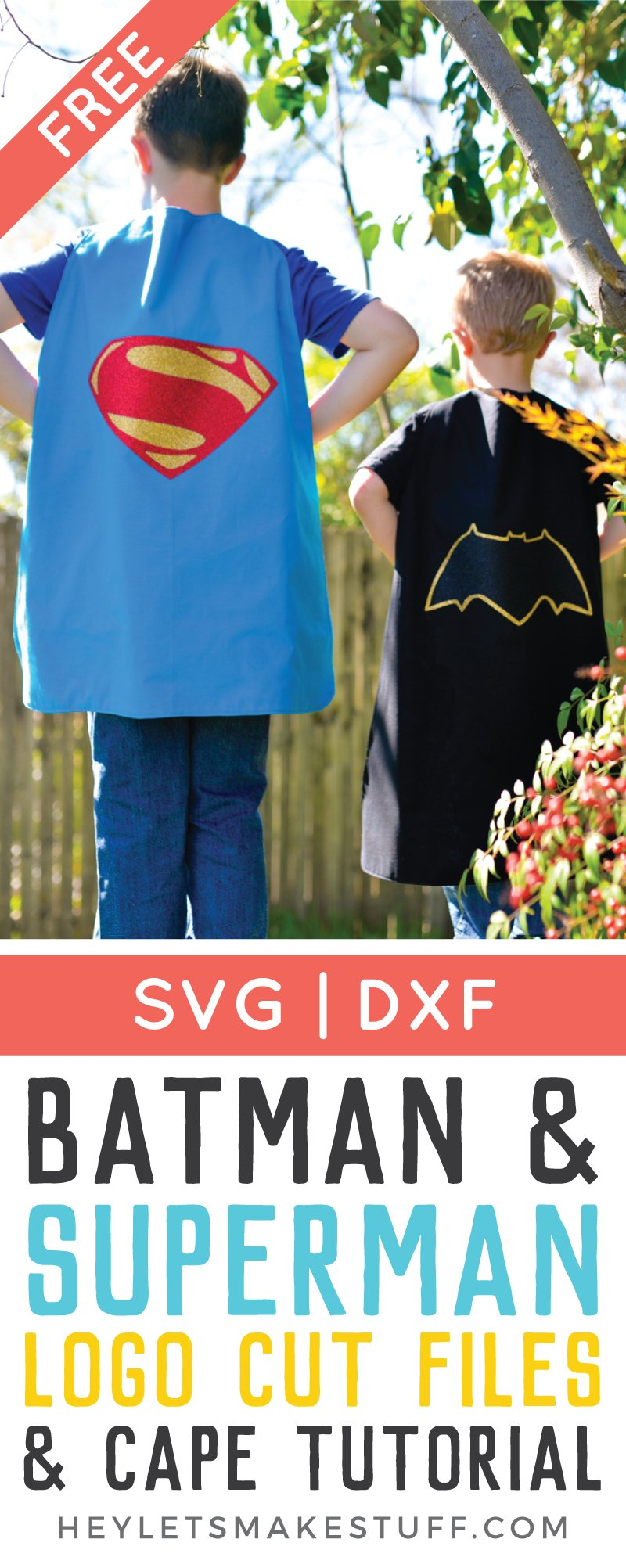 The Batman and Superman logos got an edgy update for the new movie! Get the free cut file for the new logos, plus learn how to sew a quick cape.
