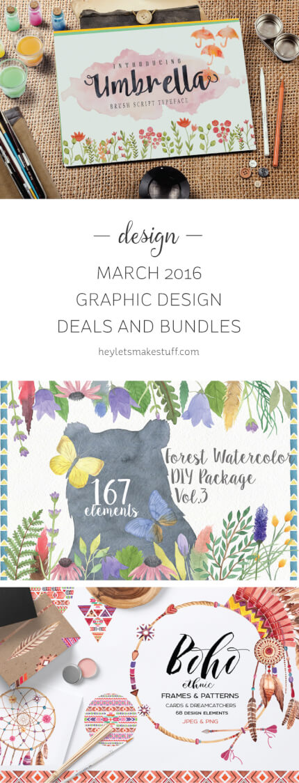 These are my Graphic Design Deal picks for March, 2016! Thousands of dollars worth of resources for a fraction of the price!