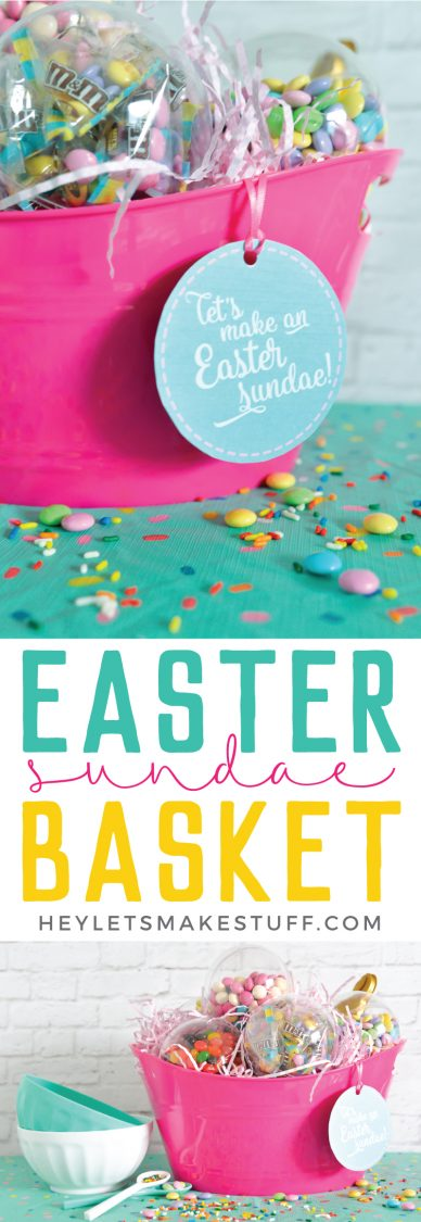 This Easter Sundae Easter Basket is filled with everything you need to make the ultimate ice cream sundae! #ad